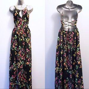Yumi Kim Silk Floral Open Back Maxi Dress